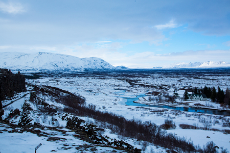 View over the Thingvellir National Park from the european continent in Iceland