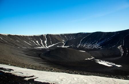 Extinct volcano near Myvatn lake in Winter in Iceland