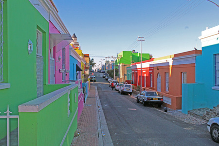 Colorful houses in the Bo Kaap district, Cape Town, South Africa Imagens