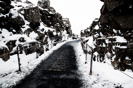 Path between the continental plates Eurasien and American in Iceland