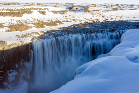 Detifoss waterfall at twilight with veil effect in Iceland