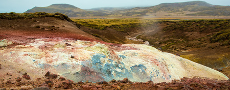 Geothermal area in Iceland near Reyjavik with colorful mineral rocks Stockfoto - 124810315