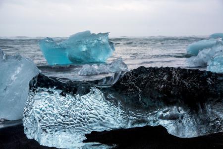 Glacier ice chunks at Diamond Beach at Jokullsarlon