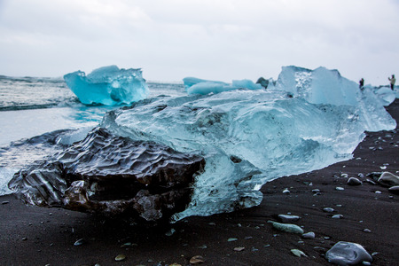 Glacier ice chunks on Diamond Beach at Jökullsarlon