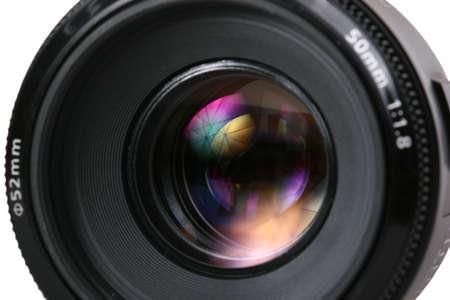 photo lense with umbrella reflection Stock Photo