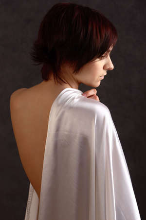 clothe: young girl in white clothe Stock Photo