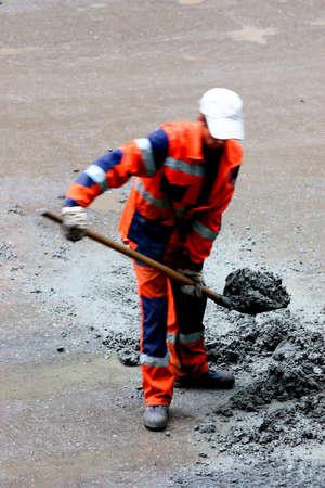 road worker (motion blur) repair road Stock Photo