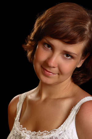 overt: unprotected young girl, look at camera Stock Photo