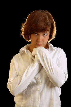 sorrowful: young. sorrowful girl look at camera Stock Photo
