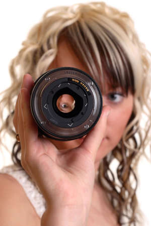 girl examine photo lense, focus on eye in lense photo