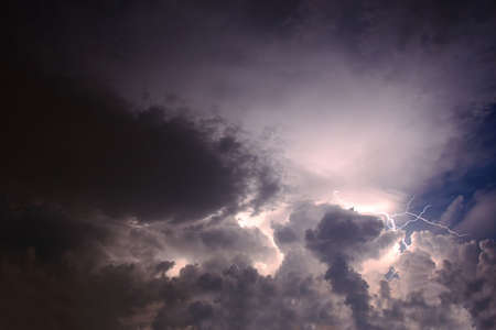 streak lightning: lightning bolt in cloudly sky