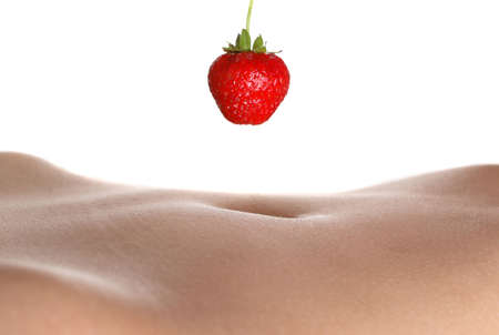 strawberry hang over naked belly