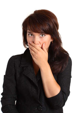 beautiful girl frightend and cover mouth with hands Stock Photo