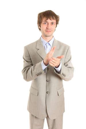 applaud: businessman applaud and smiling
