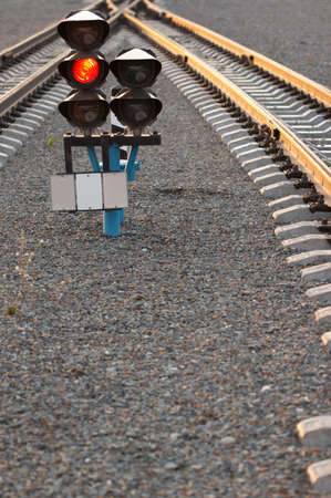 two railway lines and semaphore between it Stock Photo