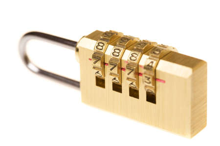 shiny gold coding lock, isolated Stock Photo - 8838670