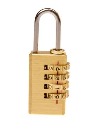 shiny gold coding lock, isolated Stock Photo - 8838668