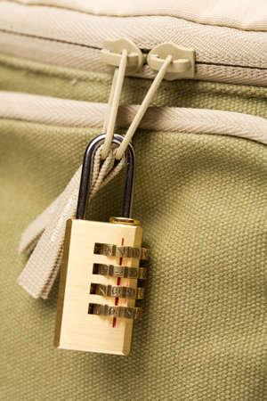 coding lock on zip of bag Stock Photo - 8838689