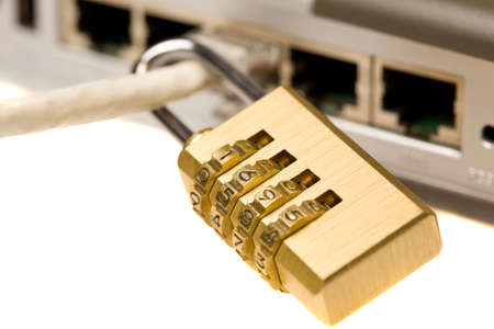 coding padlock on network cable Stock Photo - 8838677