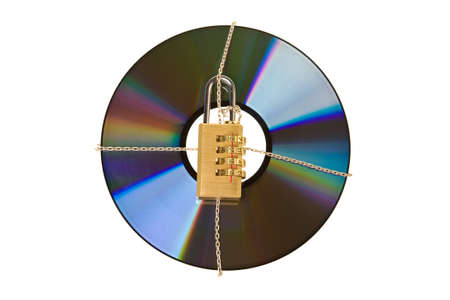 coding padlock on cd-disk in chains Stock Photo - 8838667