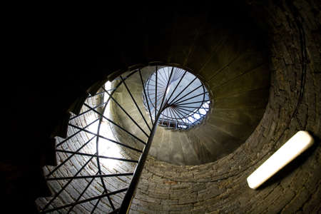 old spiral square stairs from above photo