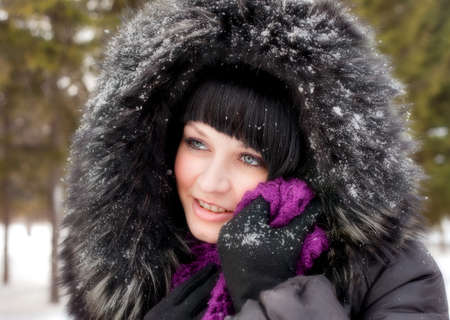 girl in fur hood and snow Stock Photo - 9743134