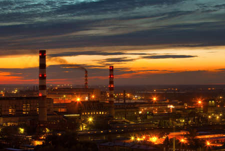 industrial power plant night landscape with lights Stock Photo - 10252209