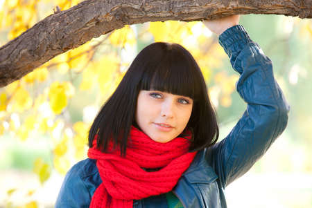 cute girl in red scarf Stock Photo
