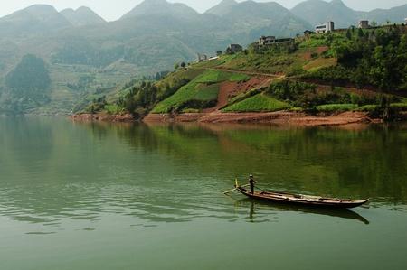 yangtze: fisherman on yangtze river