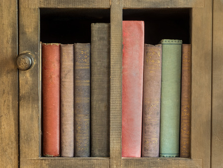antique books: old books in an antique bookcase