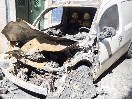 burned out: burned out car after explosion