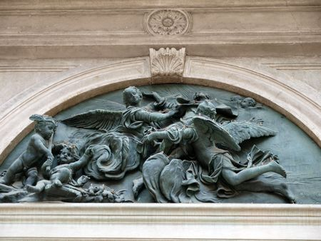 ade:    Detail from Fa�ade of San Rocco Church - Venice Italy