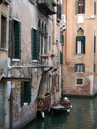lido: Typical Venetian scene with houses and canal. Venice Italy         Stock Photo
