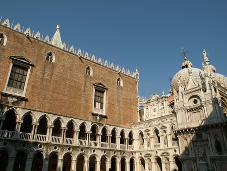 Courtyard of the Doge Palace in Venice, Italy       Stock Photo