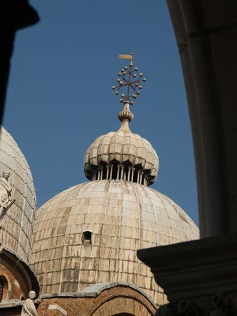 doge's palace:    The view of the cupola of basilica Str Marks - Venice       Stock Photo