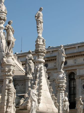 doges  palace:  Reachness of details on the Doges Palace in Venice, Italy        Stock Photo
