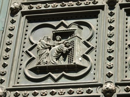histories:  Florence Baptistery - South Portal by Andrea Pisano- 1336. Histories of St John the Baptist         Stock Photo