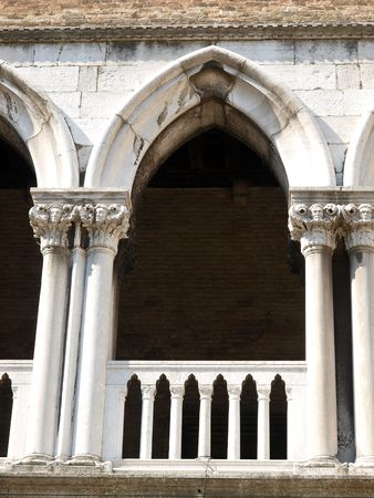 doges: Reachness of details on the Doges Palace in Venice, Italy       Stock Photo