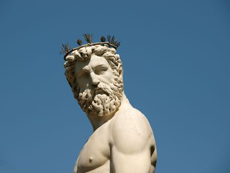 Statue of Neptune as part of the fountain on Piazza della Signoria in Florence, Italy.