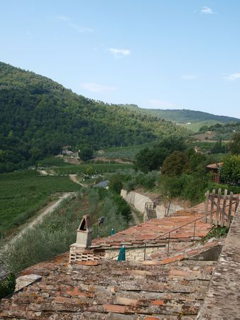 chiantishire: Old roof of the Tuscan villa amongst vineyards and an olive groves