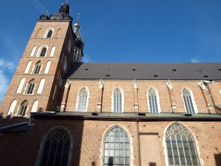 kroke: the Virgin Mary Basilica - Krakow, Poland . The Church of the Assumption of the Virgin Mary Stock Photo