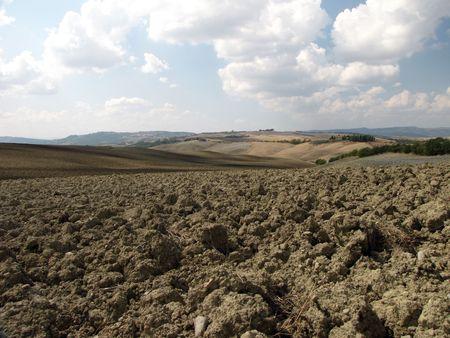 harvests: Tuscany - Landscape after harvests Stock Photo