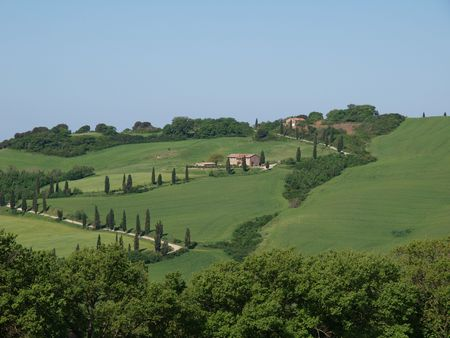 rolling landscapes: The landscape of the Val d'Orcia. Tuscany. Italiy Stock Photo