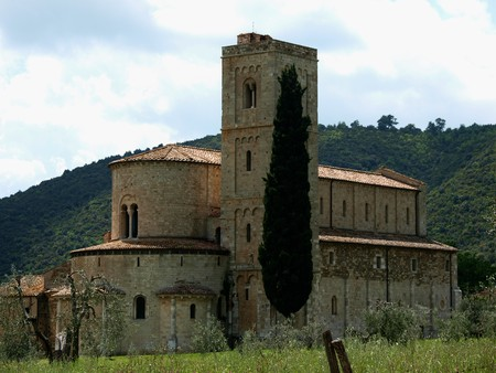 Sant Antimo Abbey near Montalcino in Tuscany, Italy photo