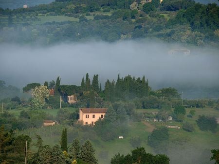 Fabulous landscape of the foggy morning in Tuscany. The valley between Montepulciano and Chiusi photo
