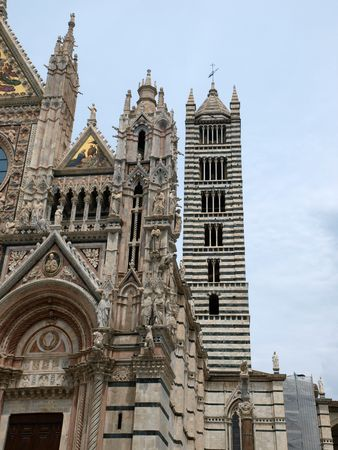 campanile: Duomo and Campanile facades in  Siena, Tuscany