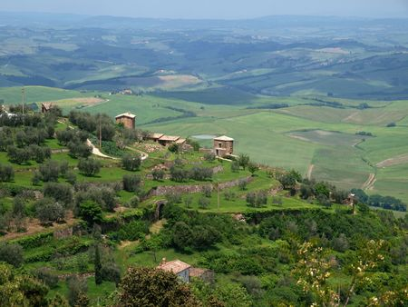 The hills around Montalcino, Tuscany, Italy photo