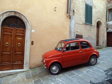 car at the town of Montepulciano in Italy