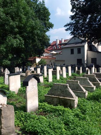 The Remuh Cemetery in Krakow, Poland, is a Jewish cemetery established in 1535. It is located beside the Remuh Synagogue  Stock Photo - 7576311
