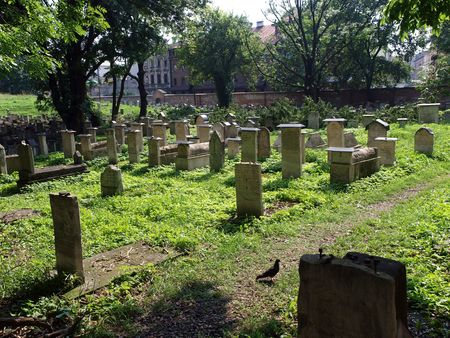 hebraism: The Remuh Cemetery in Krakow, Poland, is a Jewish cemetery established in 1535. It is located beside the Remuh Synagogue  Stock Photo